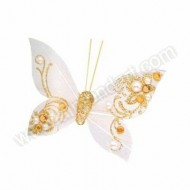 Ivory/Gold Feather Butterfly with clip