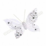 White/Silver Feather Butterfly with clip
