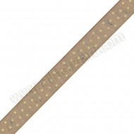 Brown Organza Ribbon With Cream Spots - 23mm x 1m