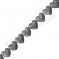 Silver Dotted Padded Heart Ribbon - 10mm x 2m