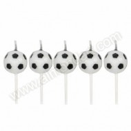 Football Candles On Picks - 5pk