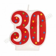 '30' Red Party Candle