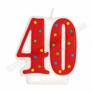 '40' Red Party Candle