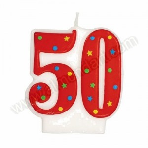 '50' Red Party Candle