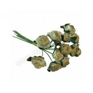 Ivory & Gold Glitter Miniature Tea Rose - 12pk