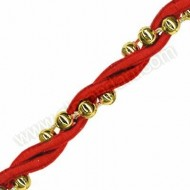 Red Rope with Gold Beads - 1 Metre