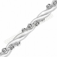 White Rope with Silver Beads - 1 Metre