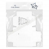 Wedding Cake Boxes - White & Silver - 10pk