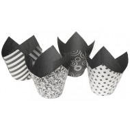 Cupcake/Muffin Tulip Wraps - Vogue Sliver & Black Design - 36pk