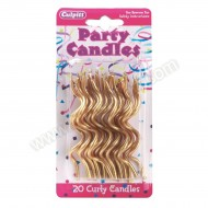 Gold Curly Candles - 20pk