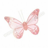 Pink Organza Butterfly with clip