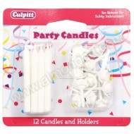 Plain White Candles & Holders - 12 Pack