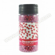 Edible Red Sugar Pearl Sprinkles - 100g