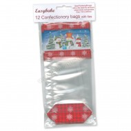 Snowman Design Confectionery / Sweet Bags & Ties - 12pk