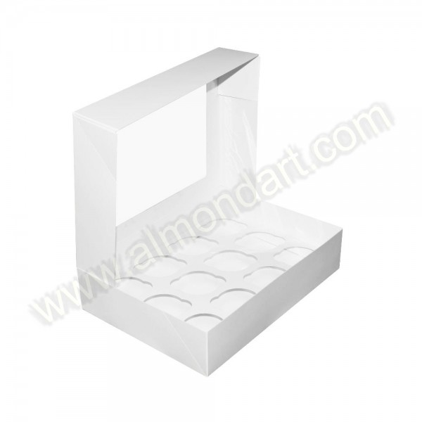 12 Cupcake/Muffin - Plain White Box - Almond Art