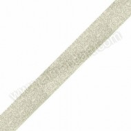 Ivory - Metallic Dazzle Ribbon 15mm - Per Meter