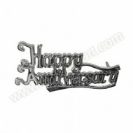 &#039;Happy Anniversary&#039; Silver Effect Motto