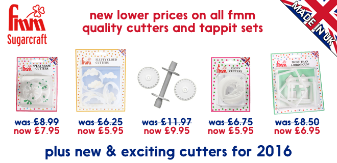 New lower prices on all FMM quality cutters and tappit sets, plus new and exciting cutters for 2016